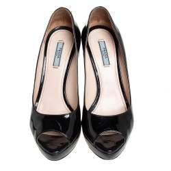 Prada Black Patent Leather Peep Toe Platform Pumps Size 37.5
