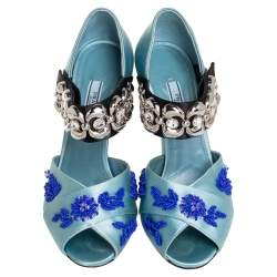 Prada Blue Satin Embroidered Mary Jane Pumps Size 38
