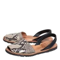 Prada Brown /Beige Python Embossed Leather Slingback Flat Sandals Size 38.5