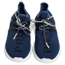 Prada Navy Blue Knit Fabric Low Top Sneakers Size 36