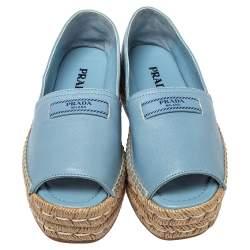 Prada Blue Leather Peep Toe Platform Espadrilles Size 36.5