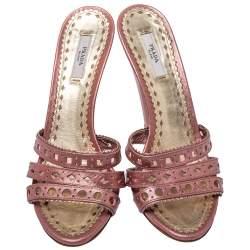 Prada Pink Leather Slide Sandals Size 38.5