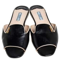 Prada Black Saffiano Patent Leather Flat Sandals Size 38.5
