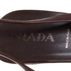 Prada Brown Leather Slingback  Pointed Toe Sandals Size 39.5