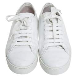 Prada White Leather Lace Up Low Top Sneakers Size 36.5