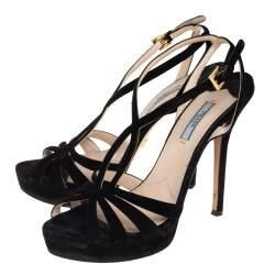 Prada Black Suede Strappy Sandals Size 39.5