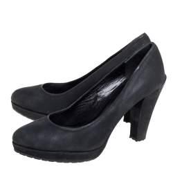 حذاء كعب عالى برادا كعب عريض نعل سميك نوبوك أسود مقاس 38