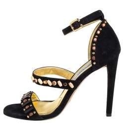 Prada Black Suede Embellished Ankle Strap Sandals Size 38