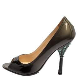 Prada Black Patent Leather Peep Toe Pumps Size 36.5