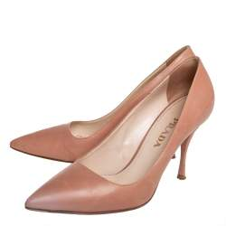 Prada Beige Leather Pointed Toe Pumps Size 38