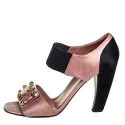Prada Black/Brown Satin And Fabric Embellished Sandals Size 37