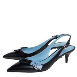 Prada Black Leather Bow Slingback Sandals Size 38.5