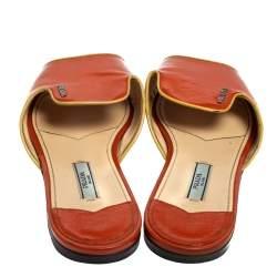 Prada Orange Patent Saffiano Leather Flat Slides Size 37