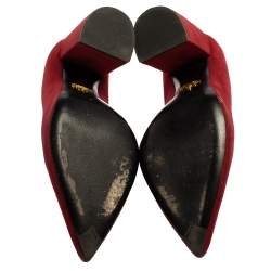 Prada Red Suede Slanted Block Heel Pumps Size 40