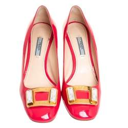 Prada Pink Patent Leather Embellished Square Toe Pumps Size 39