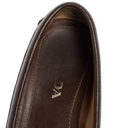 Prada Brown Textured Leather Bow Loafers Size 37.5