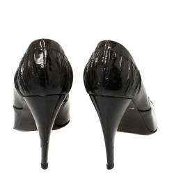Prada Black Pleated Patent Leather Pointed Toe Booties Size 39