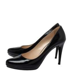 Prada Black Patent Leather Platform Pumps Size 40.5