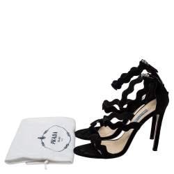 Prada Black Suede Wavy Strap Sandals Size 38