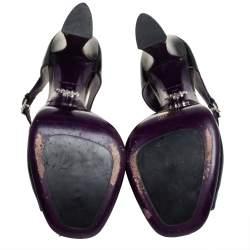 Prada Black Leather Peep Toe Platform Ankle Strap Sandals Size 38