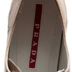 Prada Pink Patent Leather Low Top Sneakers Size 37