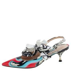 Prada Multicolor Printed Leather Scarf Bow Slingback Sandals Size 37