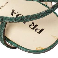 Prada Green/Black Python Flat Ankle Strap Sandals Size 37