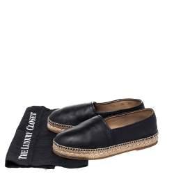 Prada Black Leather Espadrille Flats Size 38.5