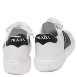 Prada White/Black Leather Low Top Sneakers Size 38