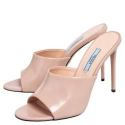 Prada Beige Leather Open Toe Slide Sandals Size 38