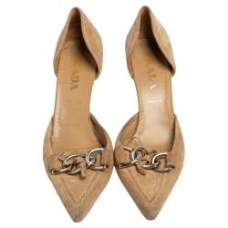 Prada Beige Suede D'orsay Chain Linked Pointed Toe Pumps Size 38.5