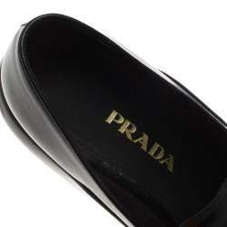 Prada Black Leather Platform Penny Loafers Size 39