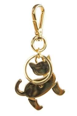 Prada Red Enamel Gold Tone Cat Bag Charm / Key Ring