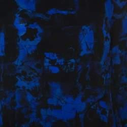 Proenza Schouler Indigo Graffiti Print Silk Layered Top S
