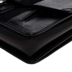 Proenza Schouler Black Leather, Suede and Snakeskin Wristlet Clutch