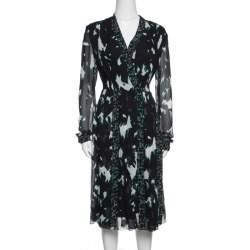 Proenza Schouler Black Printed Silk Pleated Long Sleeve Dress S
