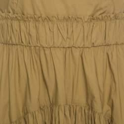 Proenza Schouler Khaki Green Cotton Tiered Tea Length Sleeveless Dress S