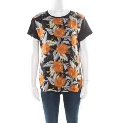 Proenza Schouler Black Slub Jersey Contrast Floral Print T-Shirt S