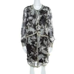 Proenza Schouler Monochrome Abstract Print Sheer Silk Embellished Waterfall Jacket and Dress Set M
