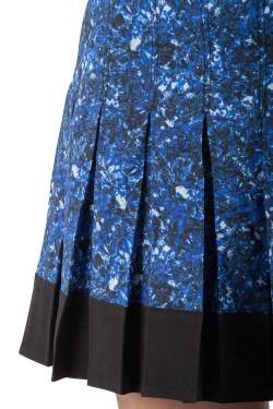Proenza Schouler Blue and Black Micro Printed Silk Georgette Pleated Skirt S