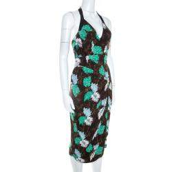 Proenza Schouler Brown Jungle Leaf Print Draped Halter Midi Dress S