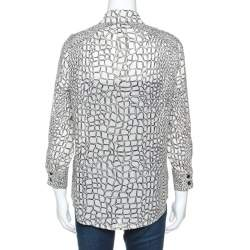 Proenza Schouler Cream Printed Silk Button Front Shirt M