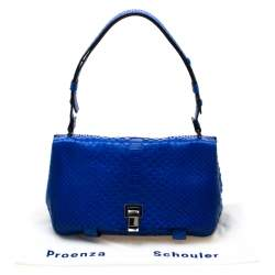 Proenza Schouler Royal Blue Python Courier Shoulder Bag