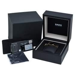 Rado Black Ceramic Gold PVD Coated Stainless Steel Diamond Centrix R30555712 Women's Wristwatch 28 mm