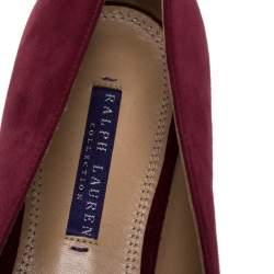 Ralph Lauren Red Suede Slip On Flat Loafers Size 42