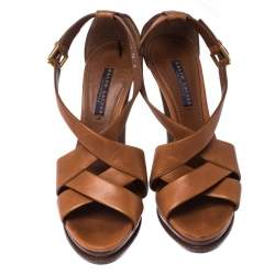 Ralph Lauren Collection Brown Leather Strappy Platform Sandals Size 40