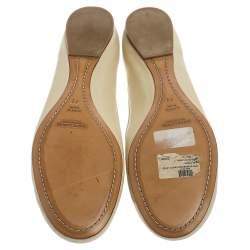 Ralph Lauren White Leather Bow Ankle Wrap Ballet Flats Size 41