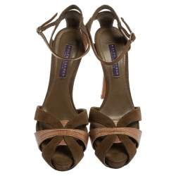 Ralph Lauren Collection Green Suede And Lizard Leather Janessa Fall Ankle Strap Platform Sandals Size 39