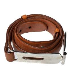 Ralph Lauren Tan Leather Hinge Pull Bar Belt 90CM