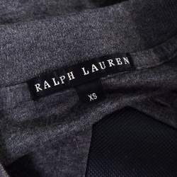 Ralph Lauren Grey Rib Knit Logo Embroidered Fitted Polo Shirt XS